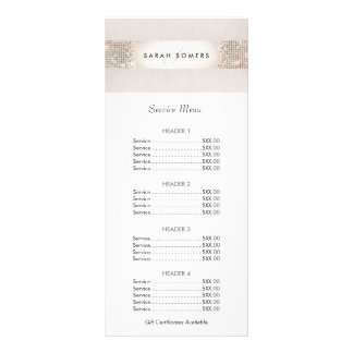 Turquoise and Silver Sequin Price List Menu Full Colour Rack Card