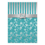 Turquoise and Silver Vine Monogrammed Invitation