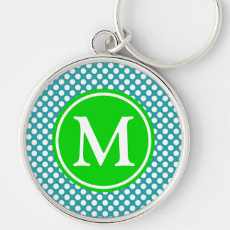 Turquoise and Summer Green Polka Dot Monogram Key Ring