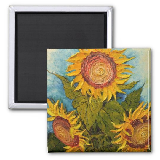 Turquoise and Sunflower Square Magnet