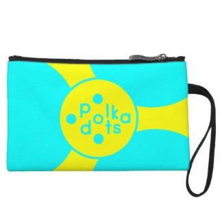 Turquoise and Sunshine Yellow Polka Dot Clutch Bag