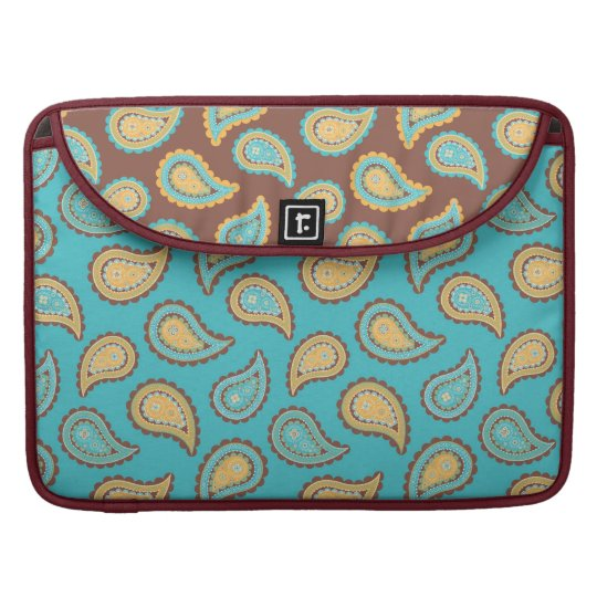 turquoise and taupe paisley pattern sleeve for MacBooks