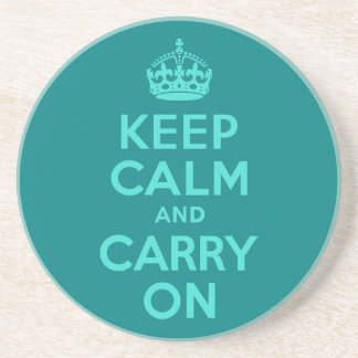 Turquoise and Teal Keep Calm and Carry On Drink Coasters