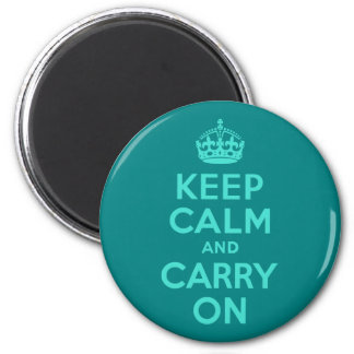 Turquoise and Teal Keep Calm and Carry On Magnet