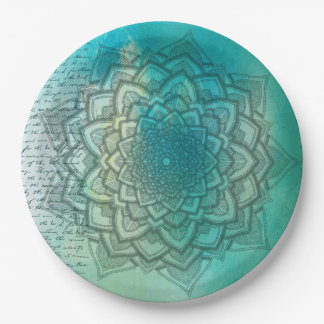 Turquoise and Teal Mandala Party Paper Plates