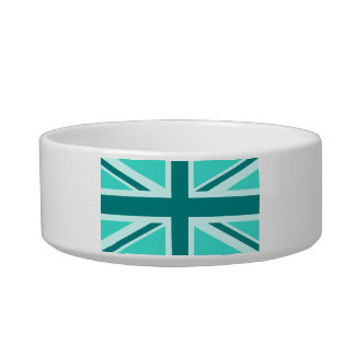 Turquoise and Teal Union Jack 2 Cat Food Bowls
