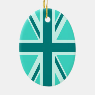 Turquoise and Teal Union Jack 2 Christmas Ornament