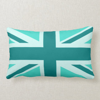 Turquoise and Teal Union Jack 2 Lumbar Cushion