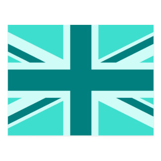 Turquoise and Teal Union Jack 2 Postcard