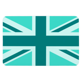 Turquoise and Teal Union Jack 2 Rectangular Photo Magnet