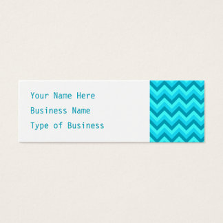 Turquoise and Teal Zigzag Pattern. Mini Business Card