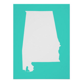Turquoise and White Alabama Poster