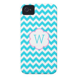 Turquoise and white chevron monogram iPhone 4 cases