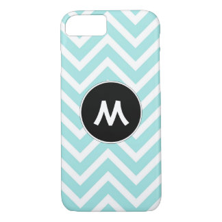 Turquoise and White Chevron Monogram iPhone 8/7 Case