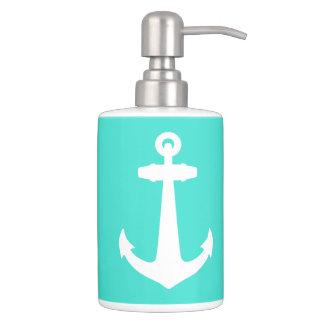 Turquoise And White Coastal Decor Anchor Soap Dispenser And Toothbrush Holder