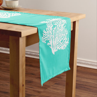 Turquoise And White Coastal Decor Coral Short Table Runner
