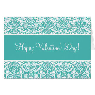 Turquoise and White Damask Valentine's Day Card