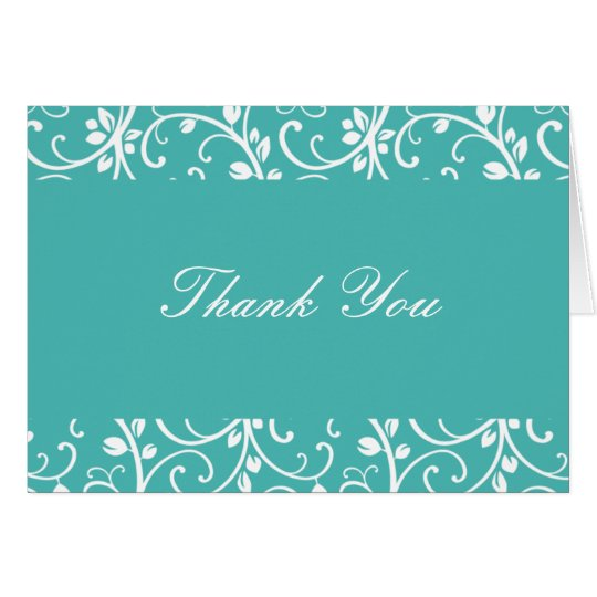 Turquoise and White Floral Vine Thank You Note Card
