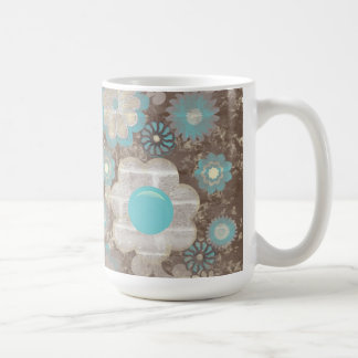 Turquoise and White Flowers Mug