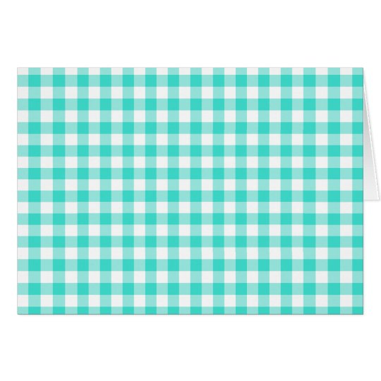 Turquoise and White Gingham Checks Pattern Card