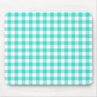 Turquoise and White Gingham Checks Pattern Mouse Pad