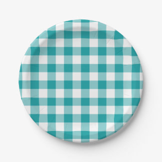 Turquoise and White Gingham Pattern 7 Inch Paper Plate