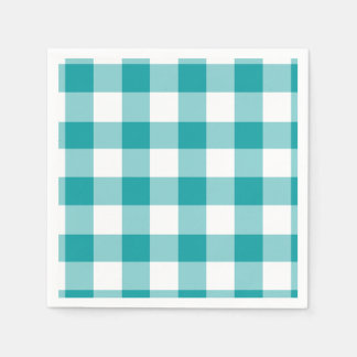 Turquoise and White Gingham Pattern Disposable Napkins