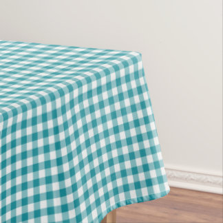 Turquoise and White Gingham Tablecloth