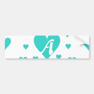 Turquoise and White Hearts Monogram Bumper Sticker