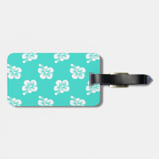 Turquoise and White Hibiscus Hawaiian Pattern Luggage Tag