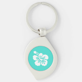 Turquoise and White Hibiscus Key Ring