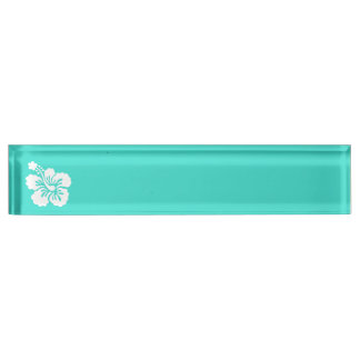 Turquoise and White Hibiscus Name Plate