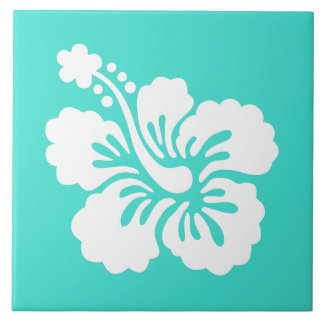 Turquoise and White Hibiscus Tile