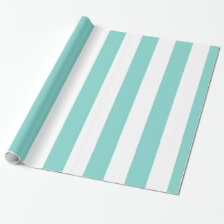 Turquoise and White Huge Stripe Pattern Wrapping Paper