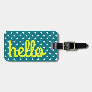 Turquoise and White Polka Dot With Yellow Luggage Tag