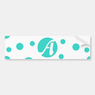 Turquoise and White Polka Dots Monogram Bumper Sticker