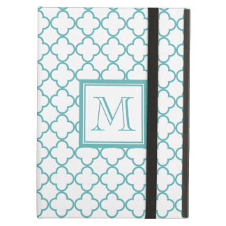 Turquoise and White Quatrefoil | Your Monogram Case For iPad Air