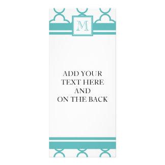 Turquoise and White Quatrefoil | Your Monogram Custom Rack Cards