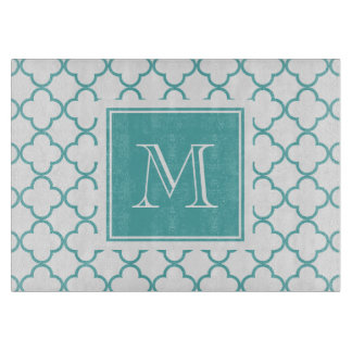 Turquoise and White Quatrefoil | Your Monogram Cutting Board