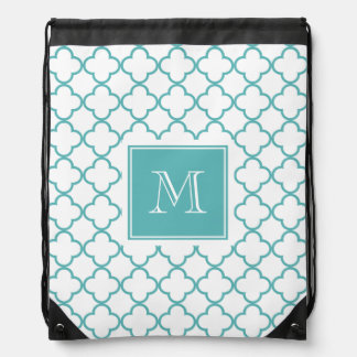 Turquoise and White Quatrefoil | Your Monogram Drawstring Bag