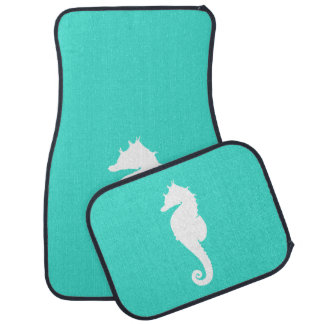 Turquoise and White Seahorse Car Mat