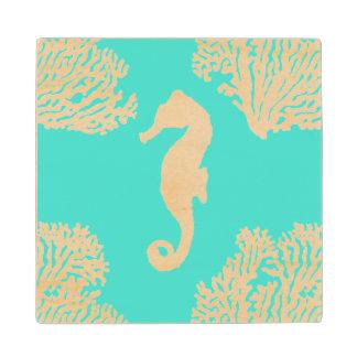 Turquoise And White Seahorse Coastal Pattern Wood Coaster