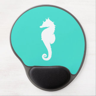 Turquoise and White Seahorse Gel Mouse Mat