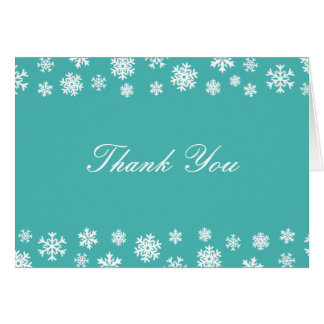 Turquoise and White Snowflakes Thank You Note Card
