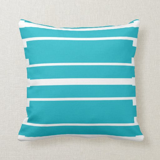 Turquoise and White Stripe Nautical Summer Pillows