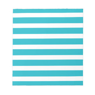 Turquoise and White Stripe Nautical Summer Notepad