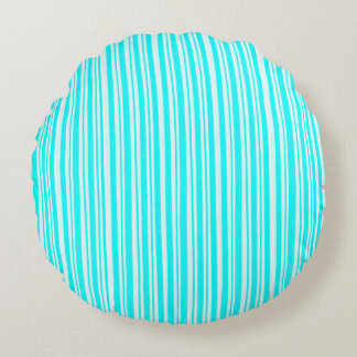 turquoise and white stripes  - round Pillow
