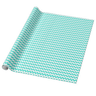 Turquoise and White Tiny Zigzag Wrapping Paper