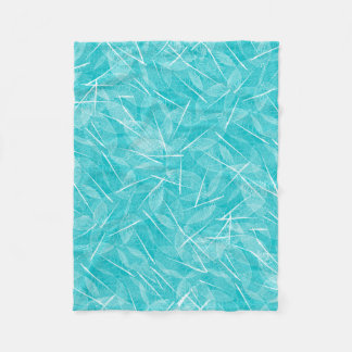Turquoise and White Vein Leaf Pattern Fleece Blanket