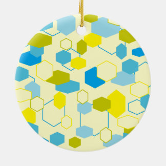 Turquoise and Yellow Double-Sided Ceramic Round Christmas Ornament
